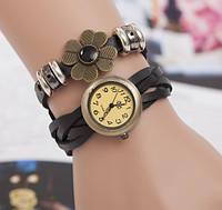Женские часы браслет с цветком черные, фото 1