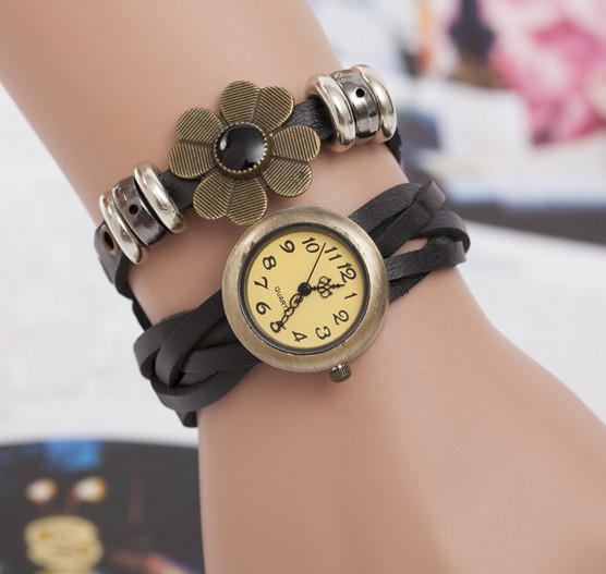 Женские часы браслет с цветком черные