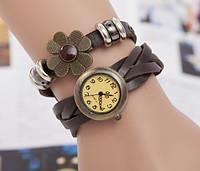 Жіночі годинники браслет з квіткою коричневі, фото 1