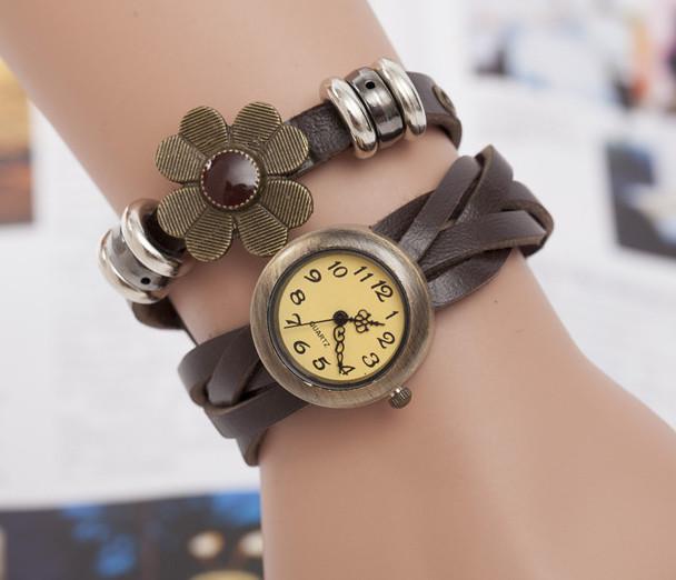 Жіночі годинники браслет з квіткою коричневі