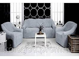 Чехлы из Плюша на Диван и 2 Кресла без Оборки Универсальный Размер Набор 316
