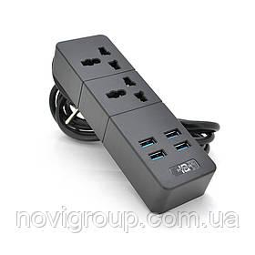 Мережевий фільтр ТВ-Т07, 2 розетки + 4 USB, 2 м, перетин 3х0,75мм, 2500W, Black / White, Box