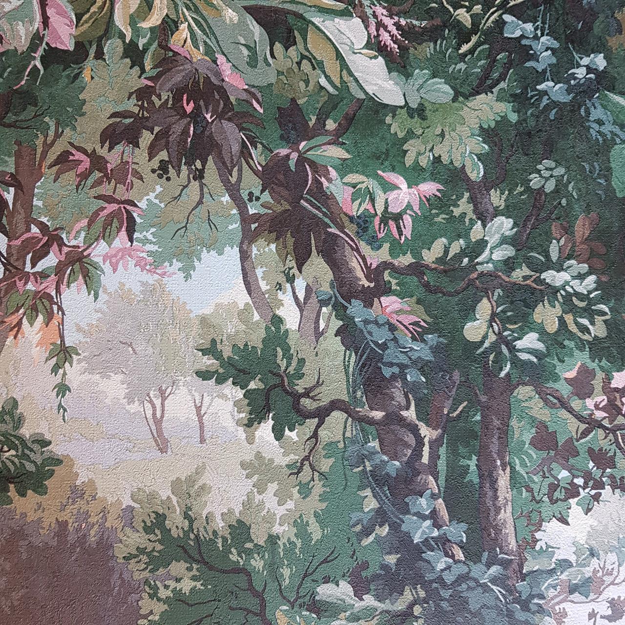 Шпалери вінілові на флізелін AS creation Impression метрові природа ліс дерева папороть птиці зелені 3д