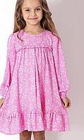 Дитяче бавовняне плаття для дівчинки з оборкою розкльошені Квіточки розмір 5-9 років, рожевого кольору