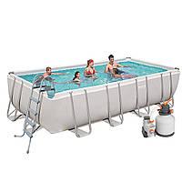 Каркасный бассейн Bestway 56466, 549 х 274 х 122 см (5 678 л/ч (песочный), дозатор, лестница, тент)