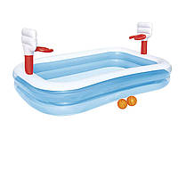 Детский надувной бассейн Bestway 54122 «Баскетбол», 254 х 168 х 102 см, с шариками