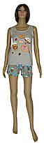 Пижама женская трикотажная, майка и шорты 21014 Пирожное коттон Серо-голубая