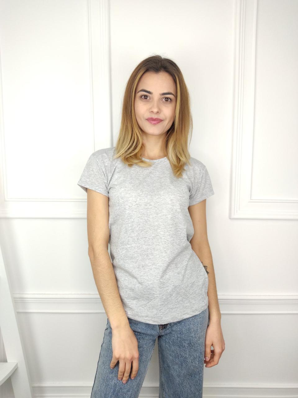 Женская футболка норма, 44-46-48рр, однотонная, серый