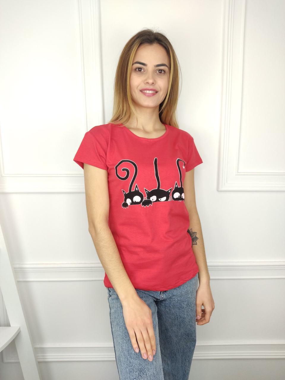 Жіноча футболка норма, 44-46-48рр, коти, червоний