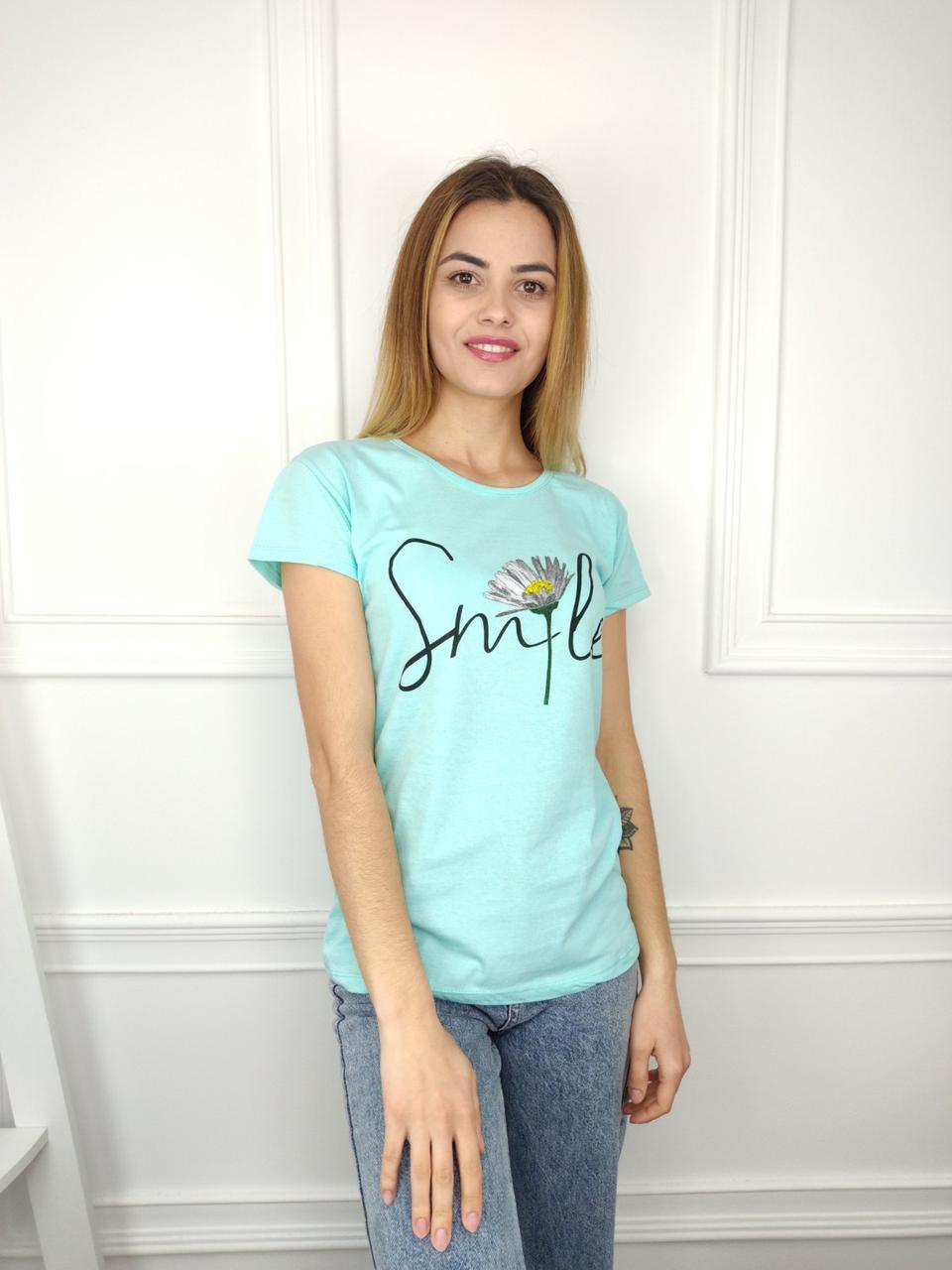Жіноча футболка норма, 44-46-48рр, Smile, блакитний