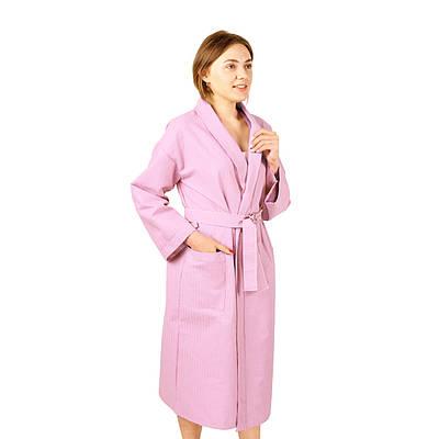 Вафельний халат Luxyart Кімоно розмір (54-56) XL 100% бавовна Рожевий (LS-864)