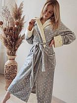 Жіночий теплий плюшевий домашній халат в зірочку, фото 2