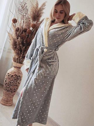 Женский теплый плюшевый домашний халат в звездочку, фото 2