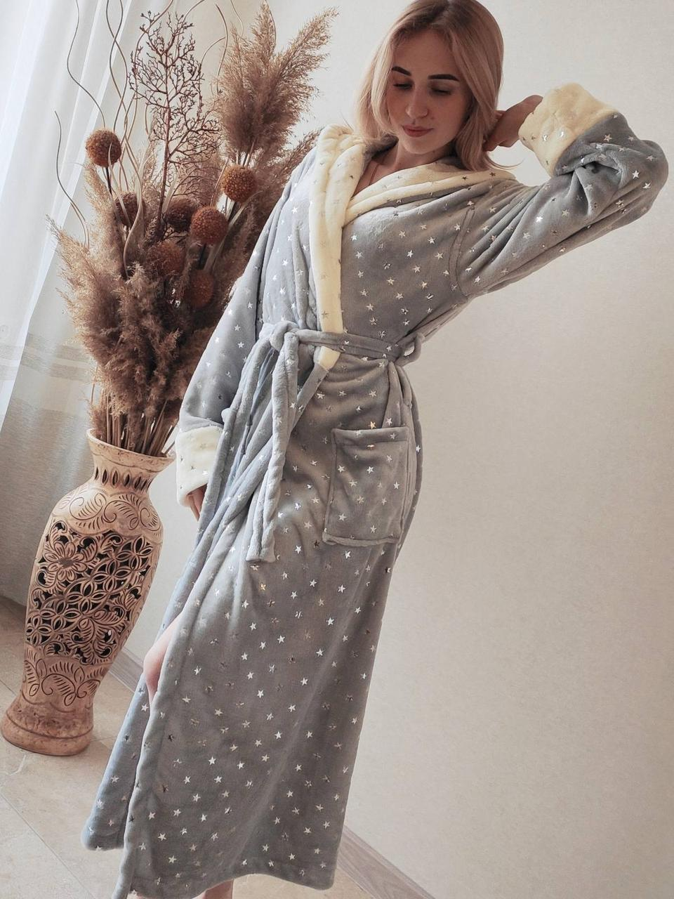 Жіночий теплий плюшевий домашній халат в зірочку
