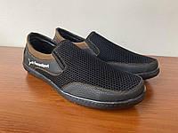 Туфли мужские летние черные сетка прошитые удобные (код 6598), фото 1