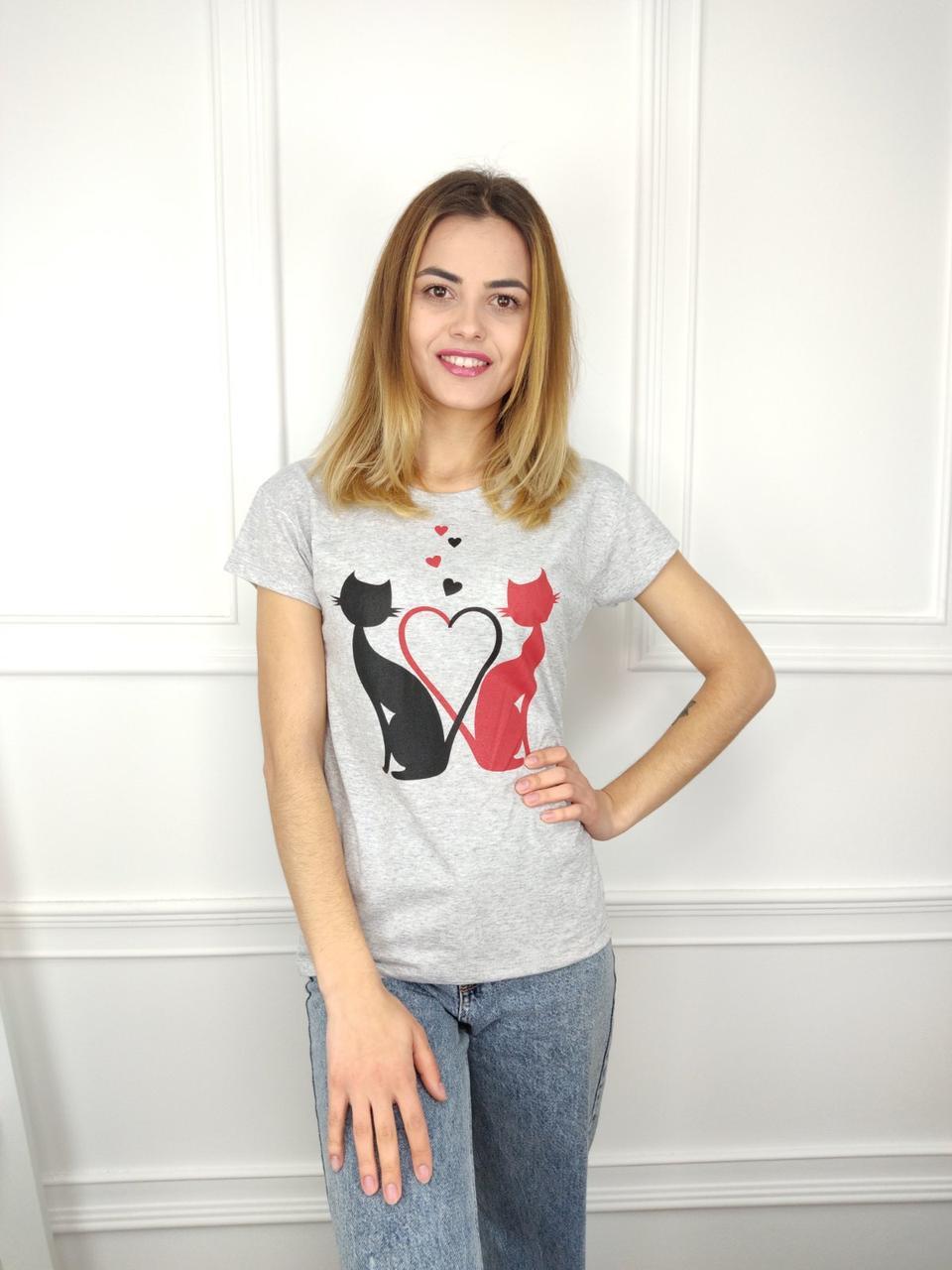 Жіноча футболка норма, 44-46-48рр, коти, сірий