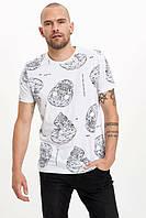 Белая мужская футболка Defacto / Дефакто с черепами Design Futures