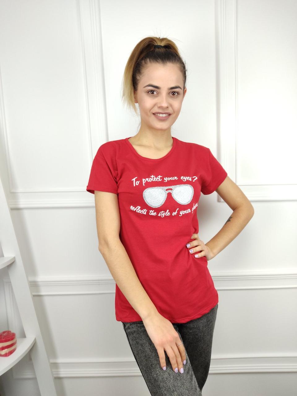 Женская футболка норма, 44-46-48рр, очки, красный