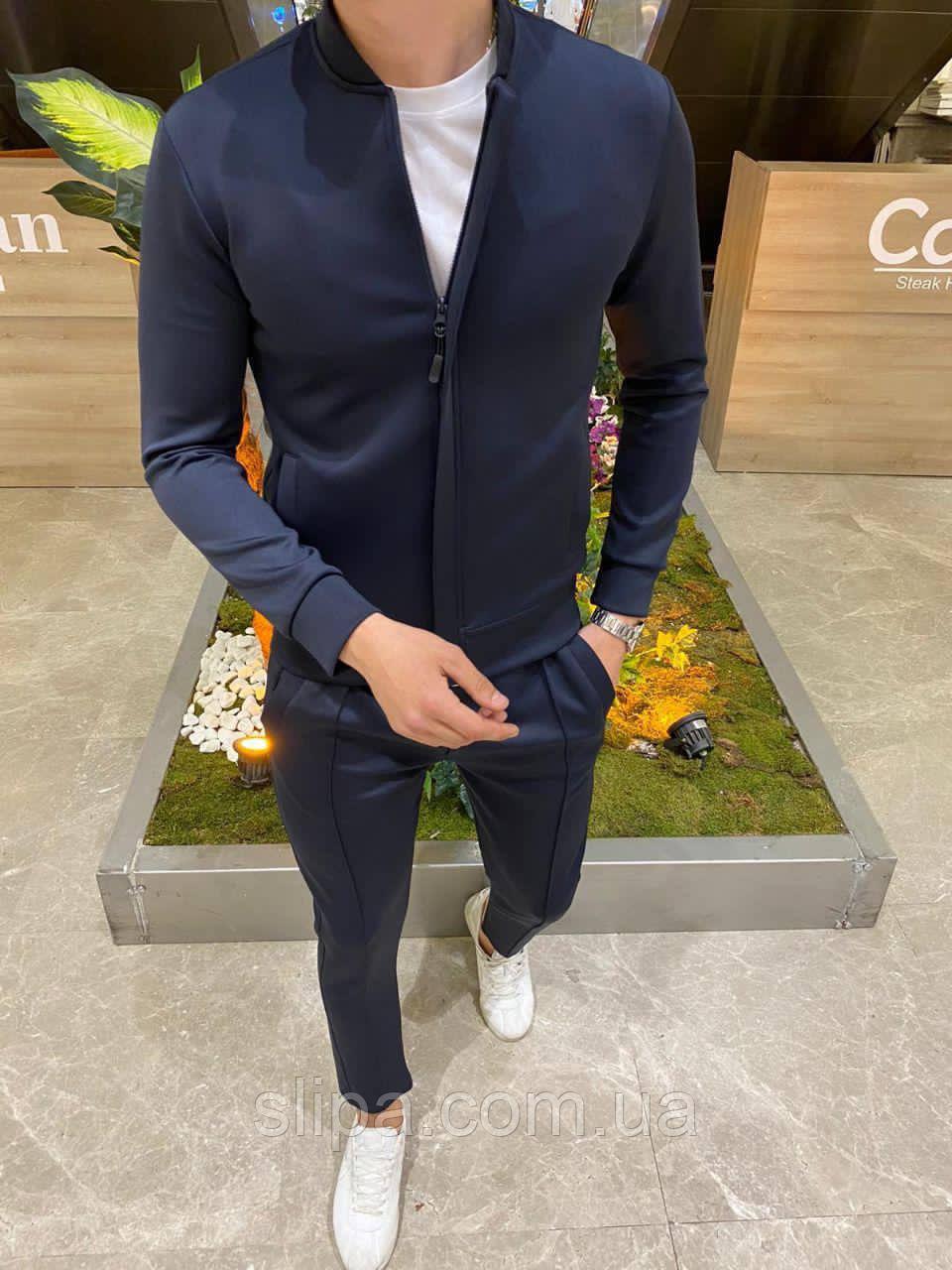 Темно-синій чоловічий спортивний костюм без капюшона   Туреччина   100% поліестер   бомбер + штани