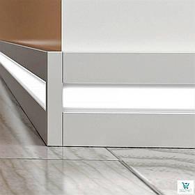 Алюминиевый плинтус 10х60х2000мм. для светодиодной подсветки. Светящийся плинтус напольный Profilpas 89/6/LED