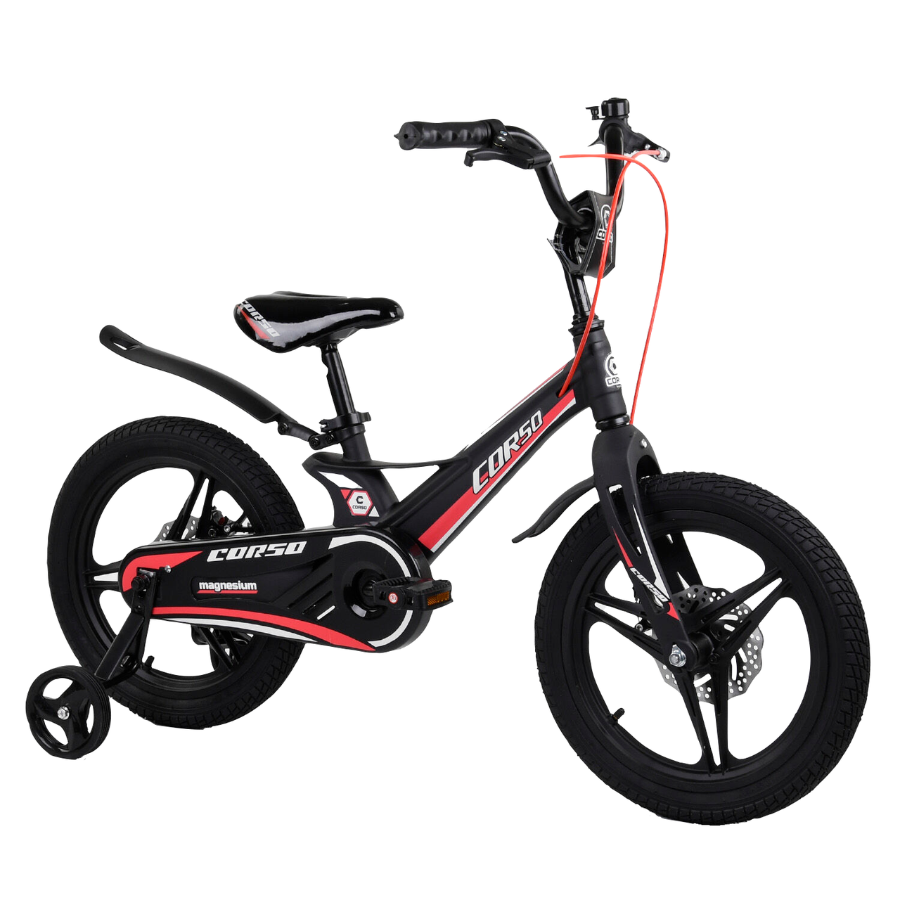 Велосипед двухколесный детский для мальчика Corso Magnesium 16 дюймов с дополнительными колесами Черный