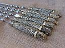 """Подарункові шампура ручної роботи """"Дикі звірі"""" з вилкою для зняття м'яса, в шкіряному сагайдаку, фото 3"""
