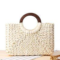 Женская прямоугольная соломенная сумка Корзинка с деревянными ручками молочная, фото 1