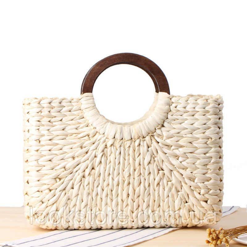 Женская прямоугольная соломенная сумка Корзинка с деревянными ручками молочная