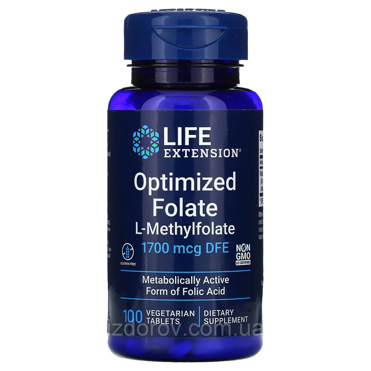 Life Extension, МетилФолат оптимізований 1000 мкг, 5-methyltetrahydrofolate, 100 таблеток