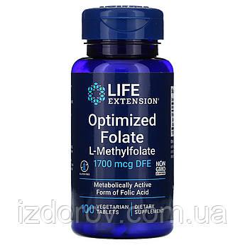 Life Extension, МетилФолат оптимизированный 1000 мкг, 5-methyltetrahydrofolate, 100 таблеток