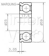 Подшипник КПП на Рено Сценик 2 (первичный вал) (25X59X17.5) (3,05)SNR (Франция) -AB41376YS04