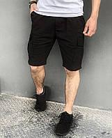 Стильные мужские карго шорты из коттона на лето, черные