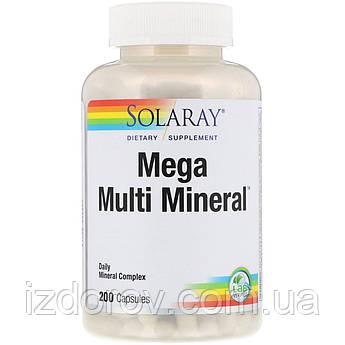 Solaray, Мультиминералы, Mega Multi Mineral, 200 капсул