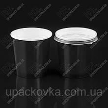 Емкость суповая из бумаги Черная с крышкой, 500 мл, 555007