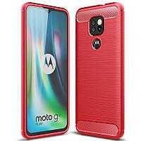 Чохол Carbon для Motorola Moto E7 Plus бампер протиударний Red