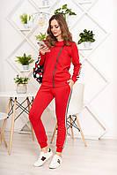 Стильный прогулочный спортивный костюм кофта и штаны женский красный