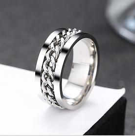 Мужское кольцо с цепью 8 мм. Размеры: 18-22. кольца из ювелирной стали, Мужские необычные кольца
