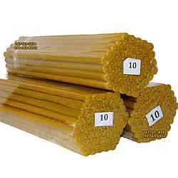 Восковые церковные свечи №10 - 52 шт/пачка. Диаметр - 12 мм. Высота - 34 см
