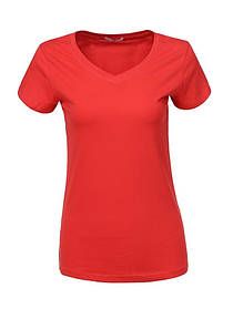 Женская красная однотонная базовая футболка в большом размере