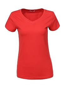 Жіноча червона однотонна базова футболка у великому розмірі