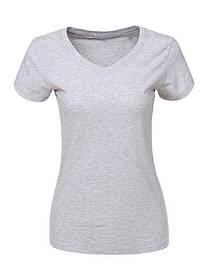 Женская серая однотонная базовая футболка в большом размере