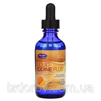 Life-flo, Жидкий йод плюс натуральный вкус апельсина, Liquid Iodine Plus, 2 жид.унции (59 мл)