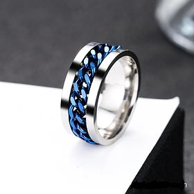 Необычное кольцо мужское с цепью 8 мм. Размеры: 18-22. Кольца для парней и мужчин