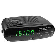 Часы сетевые VST 906-2 зеленые, радио FM, фото 2