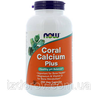 Now Foods, Коралловый Кальций Плюс, Coral Calcium Plus, 250 растительных капсул