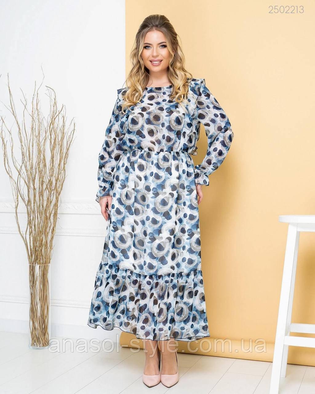 Длинное шифоновое платье Грасиоза стильный принт больших размеров синий
