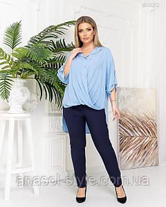 Блузка женская Анкара больших размеров голубой