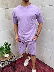 Мужской сиреевый спортивный костюм без капюшона лето/весна. Футболка+шорты