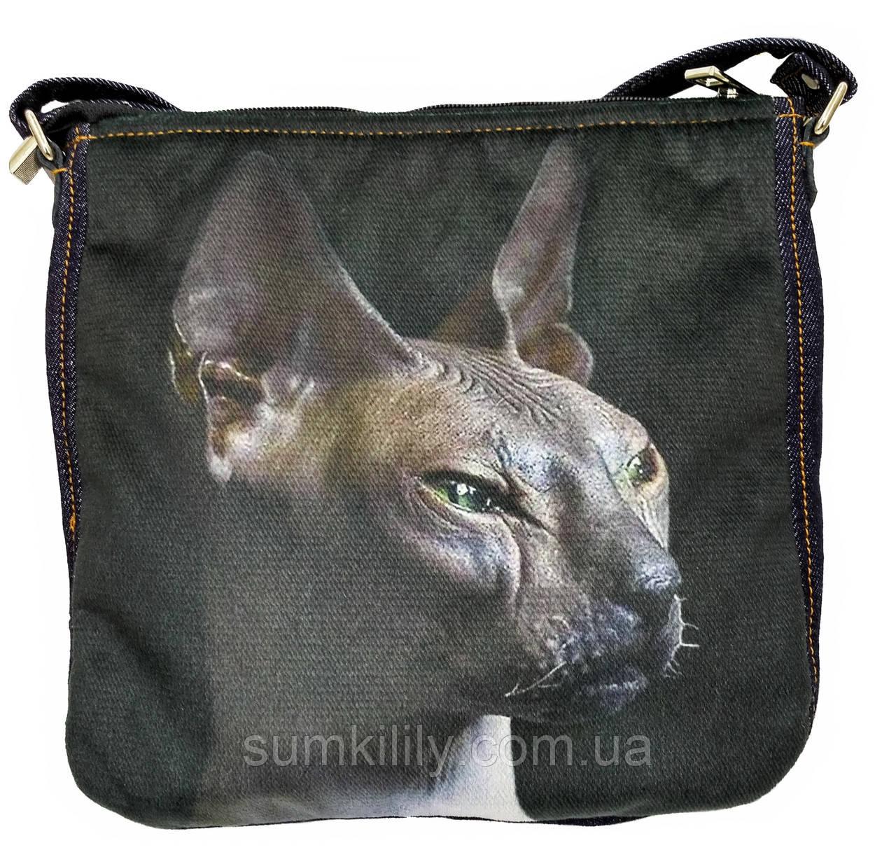 Джинсовая сумка с котом СФИНКС 2