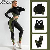 Женский костюм для фитнеса черный с зеленым тройка размер M